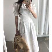 レディース ワンピース パフスリープ ドレス 着痩せ 韓国