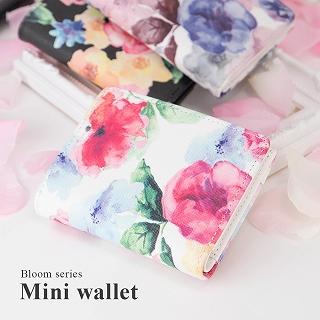 水彩花柄 二つ折り財布 フラットミニ財布 [ブルーム] / レディース