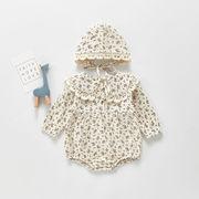 キッズ韓国風子供服 春新作 カバーオール 女の子 連体服 小花柄 フリル 帽子+ロンパース66-100