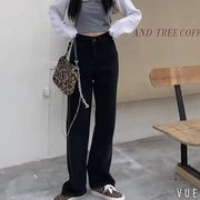 春 韓国風 年 新しいデザイン ルース ワイドレッグ ストレート 女性のジーンズ ハイウ