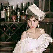 ウェディングハット/花嫁/パーティーハット/髪飾り/帽子/貴族風/披露宴/ブライダルハット ドレス帽子