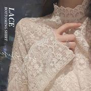 【Women】2021年春新作 韓国服 透明感のあるオシャレレースインナーシャツ 百掛け