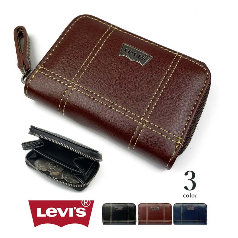【全3色】Levis リーバイス ステッチデザインエコレザー ラウンドファスナーコインケース
