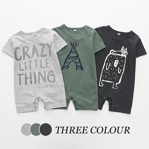 【BABY】半袖英文字パンツ一体ロンパース 全3色