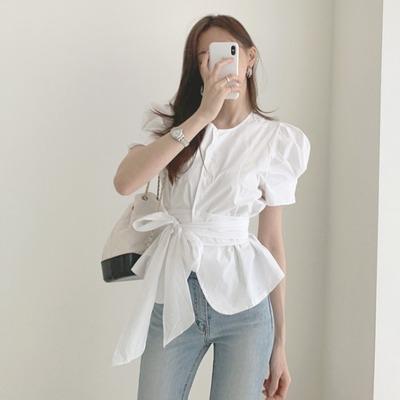 2021年夏新作 レディース 韓国風 シャツ パフスリーブ OL 通勤 ファッション 2色S-M