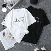 【Women】2021年春夏新作 韓国風レディース服 プリントアウト Tシャツ ハート おしゃれ トップス