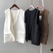 2021新年大感謝祭 スーツ ベスト 女性   韓国 Vネック 袖なし ゆったりする スプリット