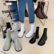 今から履けちゃう 韓国ファッションレトロ マーティンブーツ 太いヒール スクエアトゥ ショートブーツ