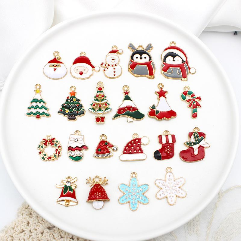クリスマスモチーフ カラーチャーム Xmas サンタクロース クリスマスツリー 靴下 アクセサリー パーツ