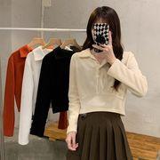 手厚い ボトムシャツ 女 秋冬 西洋風 新しいデザイン 短いスタイル 松 長袖長袖