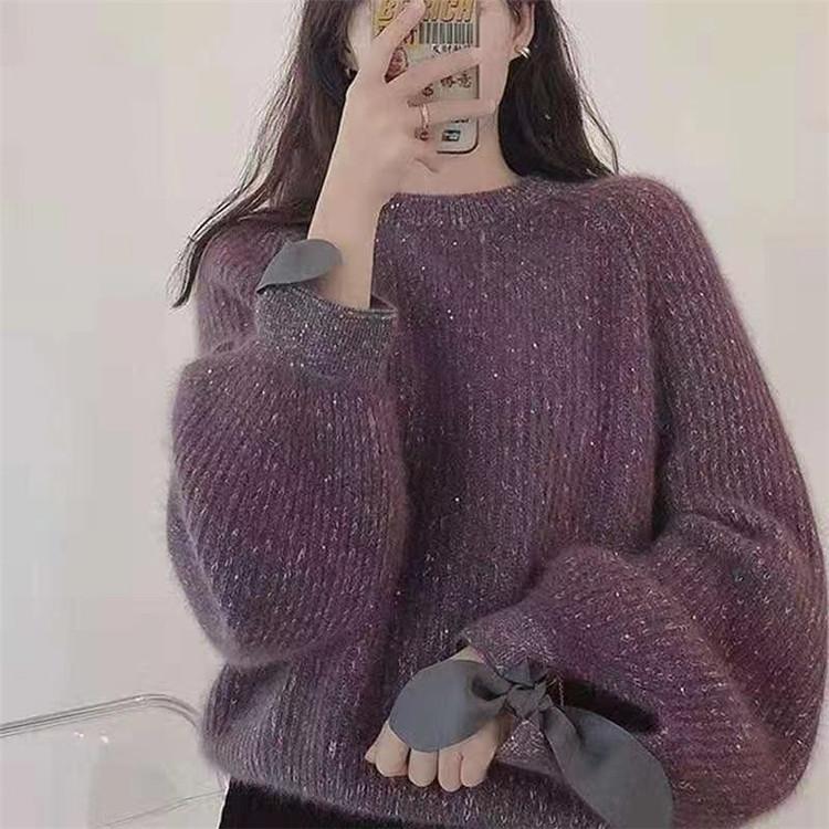 韓国ファッション ゆったりする 蝶結び カジュアル sweet系 エレガント セーター