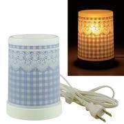 Plastic Aroma Lamp PP アロマランプ(コードタイプ) チェック&レース:ブルー◆室内照明