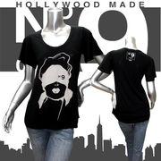 【HOLLYWOOD MADE】ハリウッドメイド★MISS BLIND WOMAN★No.9★フレアスリーブ★半袖Tシャツ ブラック
