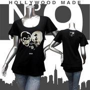 【HOLLYWOOD MADE】ハリウッドメイド★MISS HEART COCO DT★ハート★フレアスリーブ★半袖Tシャツ ブラック