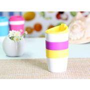 【強化】 425ml単層陶器製タンブラー(黄色) 【シリコンバンドの色で選ぶ】
