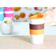 【強化】 425ml単層陶器製タンブラー(オレンジ)  【シリコンバンドの色で選ぶ】