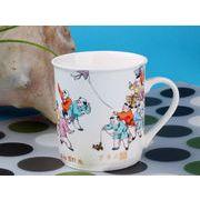 【強化】 マグカップ おしゃれ 290ml絵柄付円筒形マグカップ 絵柄(617-3)