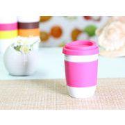 【強化】 320ml単層陶器製タンブラー(ピンク)  【シリコンバンドの色で選ぶ】