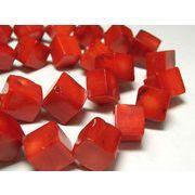 珊瑚(染色) 連販売 真紅 キューブ 約10×11mm