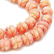 天然石 ビーズライン 卸売  /シーバンブー・海竹珊瑚 桃色・ピンク  デザインビーズ
