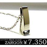【ZARGON】ザルゴン ブラッククリスタルステンレスネックレス/バー/アクセサリー