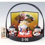 ★端午の節句を飾る★ 陶製の五月人形 【招き猫大将(供揃・白磁)】