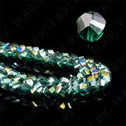 クリスタルガラスビーズスパイラルカットレインボーエメラルドグリーン【FOREST 天然石 パワーストーン】
