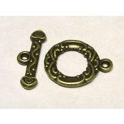 マンテル エスニック 真鍮古美 リング約13×17mm バー約17mm【10ペア販売】