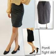 ポンチ素材ファスナー・平ゴムがポイントのタイトスカート