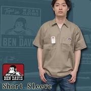 BEN DAVIS 【ベンデイビス】 ハーフZip 半袖 ワークシャツ (無地) / Short Sleeve Short