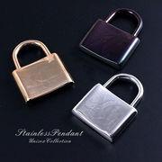 「南京錠/3色」ステンレスのペンダントトップ!シルバー/ピンクゴールド/ブラックメタリック St-9011
