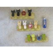 なごみ木製クリップ4Pセット ネコ カエル ウサギ
