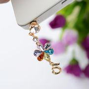 マルチカラー花と5番イヤホンジャック 携帯アクセサリー スマホアクセサリー