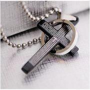 ペアネックレス メンズ クロスリングデザインネックレス 十字架 ブラック お揃い BA-379
