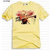 メンズ プリント Tシャツ クルーネック 半袖 イエロー ピンク カラーTシャツ カジュアル JP-QZ12022811-2