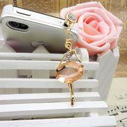 大きなストーンバレリーナのイヤホンジャック ラインストーン携帯アクセサリー スマホアクセサリー