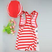 激安☆選べる!!可愛い子供水着◆泳ぎ服◆キッズ男の子◆帽子付き◆水泳◆ボーダー柄5着/セット