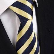 激安☆選べる!!欧米◎シルク絹100%◎お洒落ネクタイ◎イエローストライプ柄◎結婚式◎ビジネスに最適!
