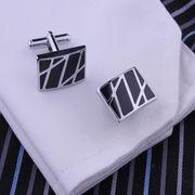 激安◎高品質◎フランス式シャツ用◎カフス飾り◎カフスボタン◎エナメル質◎幾何学柄◎ビジネス用に最適!