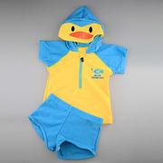激安☆選べる!!可愛い子供水着◆泳ぎ服◆キッズ男の子◆帽子付◆水泳◆カラーブロック◆ペンギン5着/セット