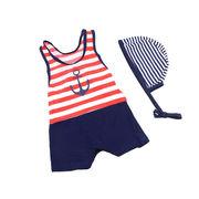 激安☆選べる!!可愛い子供水着◆泳ぎ服◆キッズ男の子◆ボーダー柄 ◆帽子付き◆ネイビー5着/セット