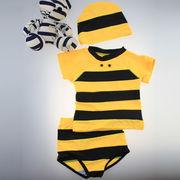 激安☆選べる!!可愛い子供水着◆泳ぎ服◆キッズ男の子◆帽子付き◆水泳◆ボーダー柄◆ハチ5着/セット