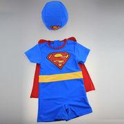 激安選べる!!可愛い子供水着◆泳ぎ服◆キッズ男の子◆クローク付き◆帽子付き◆スーパーマン5着/セット
