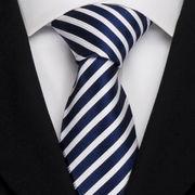 激安☆選べる!!欧米◎シルク絹100%◎お洒落ネクタイ◎ブルー*ホワイトストライプ柄◎結婚式◎ビジネス