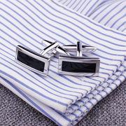 激安◎高品質◎フランス式シャツ用◎カフス飾り◎カフスボタン◎瑪瑙◎長方形◎ビジネス用に最適!