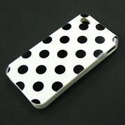 ★SALE★【I4/TPU】auソフトバンク iPhone4/S (アイフォン4) ホワイト ブラックドット柄 ソフトTPU