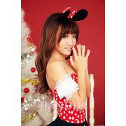 【即納】赤のドット柄ネコ耳 ミッキーバニーガールコスプレ ハロウィンコスチュームクリスマス