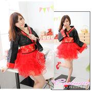 赤/4045 パニエ 着物ドレス コスプレ衣装