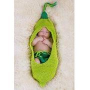 ベビー枝豆 いんげん 豆 芋虫風コスチューム 衣装 ハロウィン 毛糸 写真撮影用 出産祝い 新生児 記念撮影