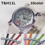 ★フェミニン&キュート★ T&Hレディース腕時計 PUレザーベルト 日本製ムーブメント